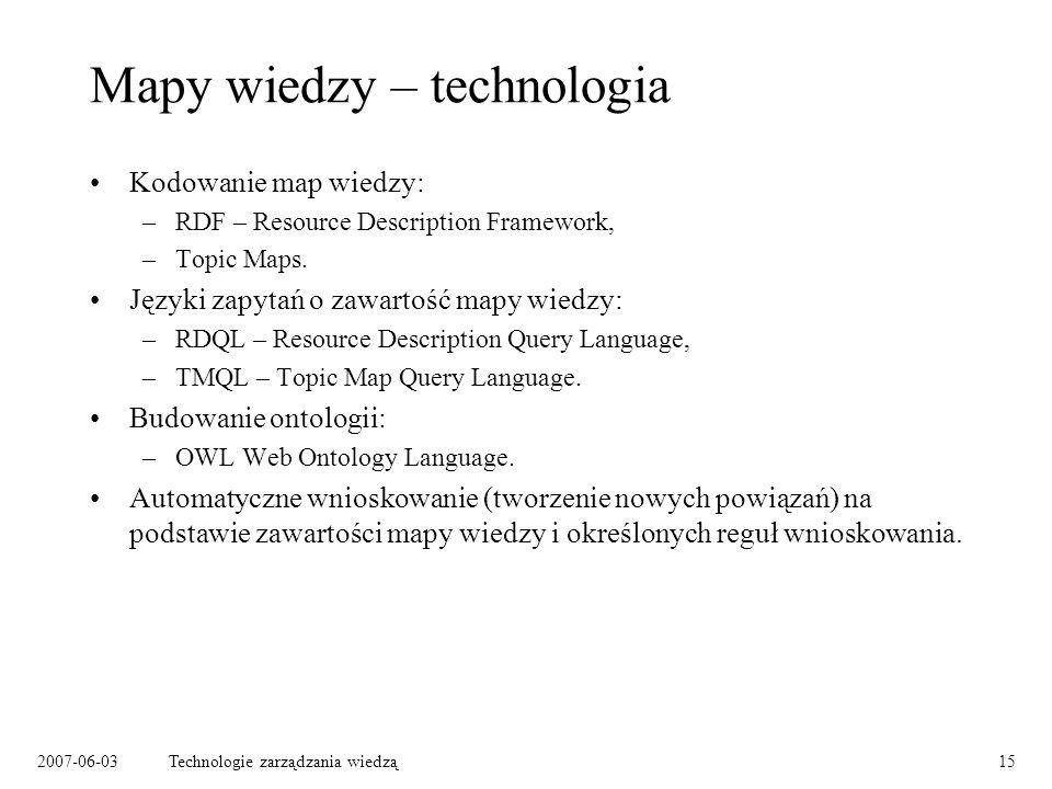 2007-06-03Technologie zarządzania wiedzą15 Mapy wiedzy – technologia Kodowanie map wiedzy: –RDF – Resource Description Framework, –Topic Maps.