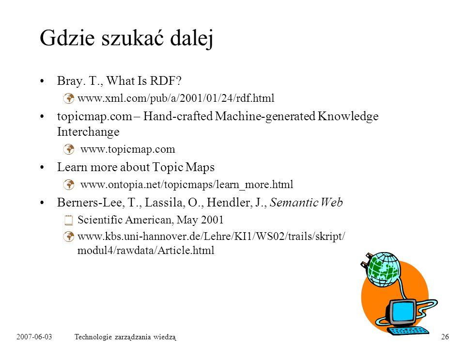 2007-06-03Technologie zarządzania wiedzą26 Gdzie szukać dalej Bray.