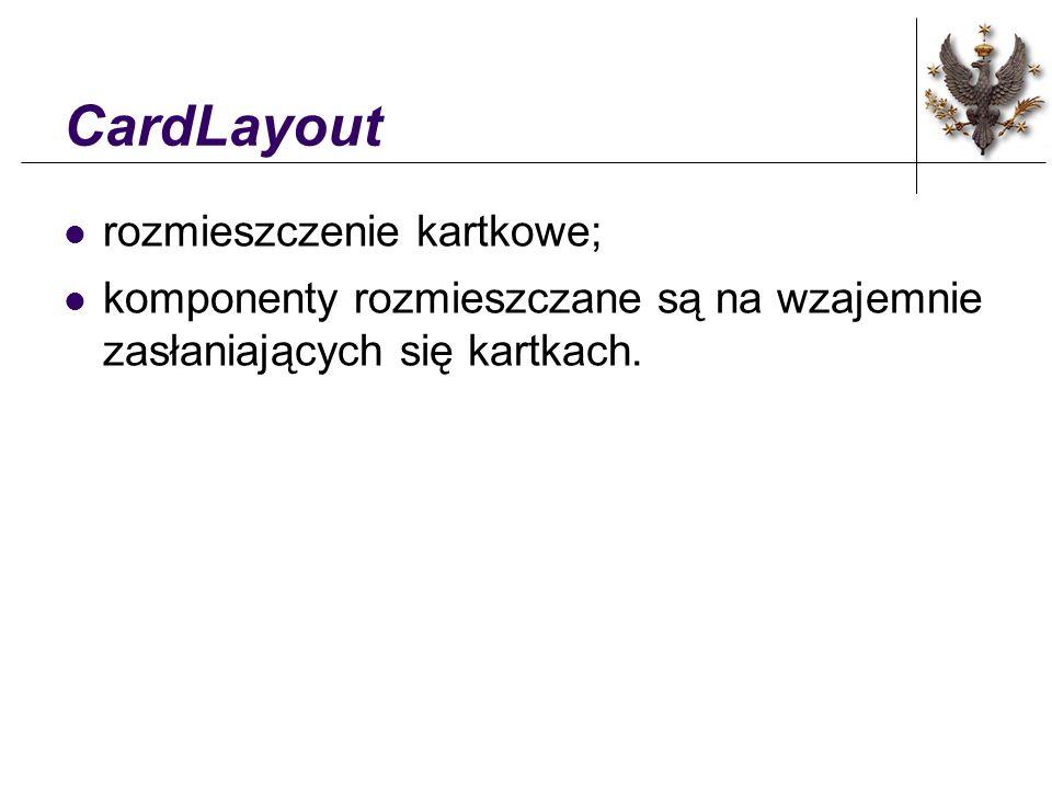 CardLayout rozmieszczenie kartkowe; komponenty rozmieszczane są na wzajemnie zasłaniających się kartkach.