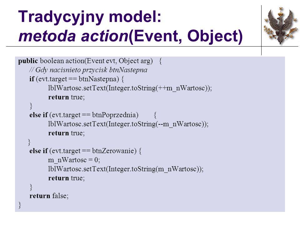 Tradycyjny model: metoda action(Event, Object) public boolean action(Event evt, Object arg) { // Gdy nacisnieto przycisk btnNastepna if (evt.target == btnNastepna) { lblWartosc.setText(Integer.toString(++m_nWartosc)); return true; } else if (evt.target == btnPoprzednia) { lblWartosc.setText(Integer.toString(--m_nWartosc)); return true; } else if (evt.target == btnZerowanie) { m_nWartosc = 0; lblWartosc.setText(Integer.toString(m_nWartosc)); return true; } return false; }