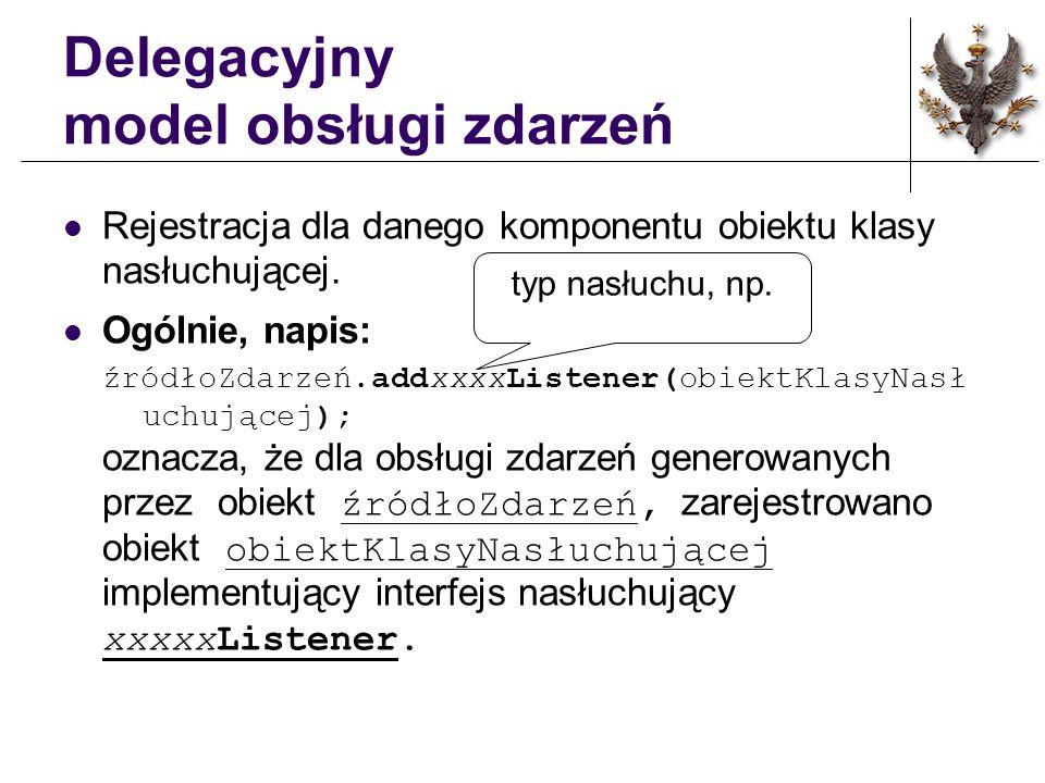 Delegacyjny model obsługi zdarzeń Rejestracja dla danego komponentu obiektu klasy nasłuchującej.
