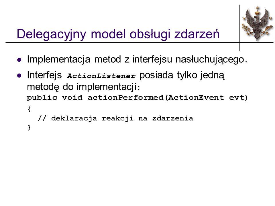 Delegacyjny model obsługi zdarzeń Implementacja metod z interfejsu nasłuchującego.