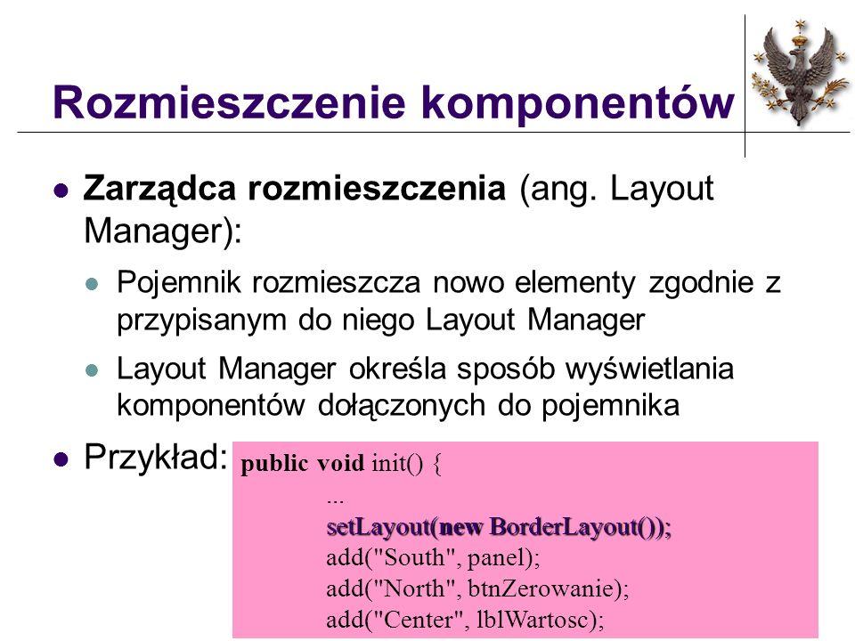 Typy rozmieszczenia Można komponety umieścić według następujących schematów: FlowLayout BorderLayout GridLayout GridBagLayout CardLayout