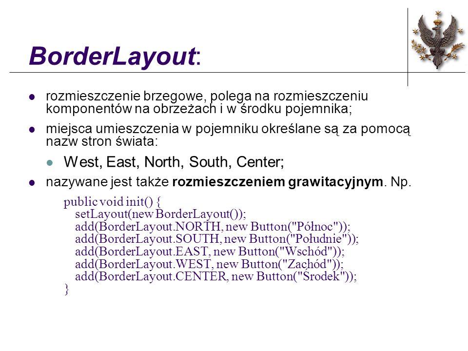 BorderLayout: rozmieszczenie brzegowe, polega na rozmieszczeniu komponentów na obrzeżach i w środku pojemnika; miejsca umieszczenia w pojemniku określane są za pomocą nazw stron świata: West, East, North, South, Center; nazywane jest także rozmieszczeniem grawitacyjnym.