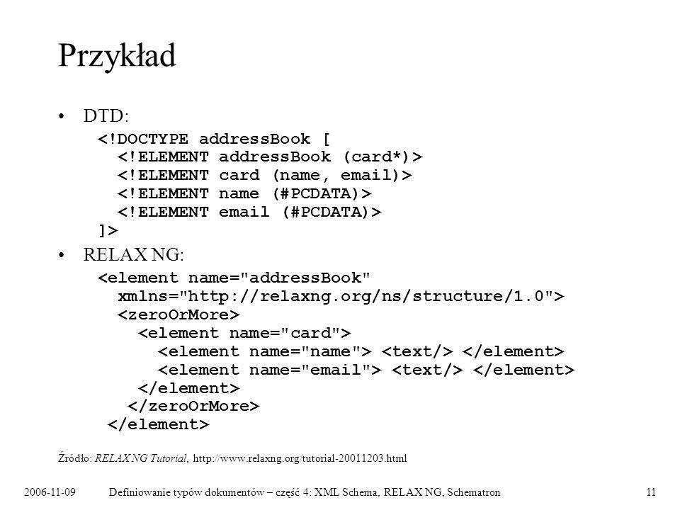 2006-11-09Definiowanie typów dokumentów – część 4: XML Schema, RELAX NG, Schematron11 Przykład DTD: ]> RELAX NG: Źródło: RELAX NG Tutorial, http://www
