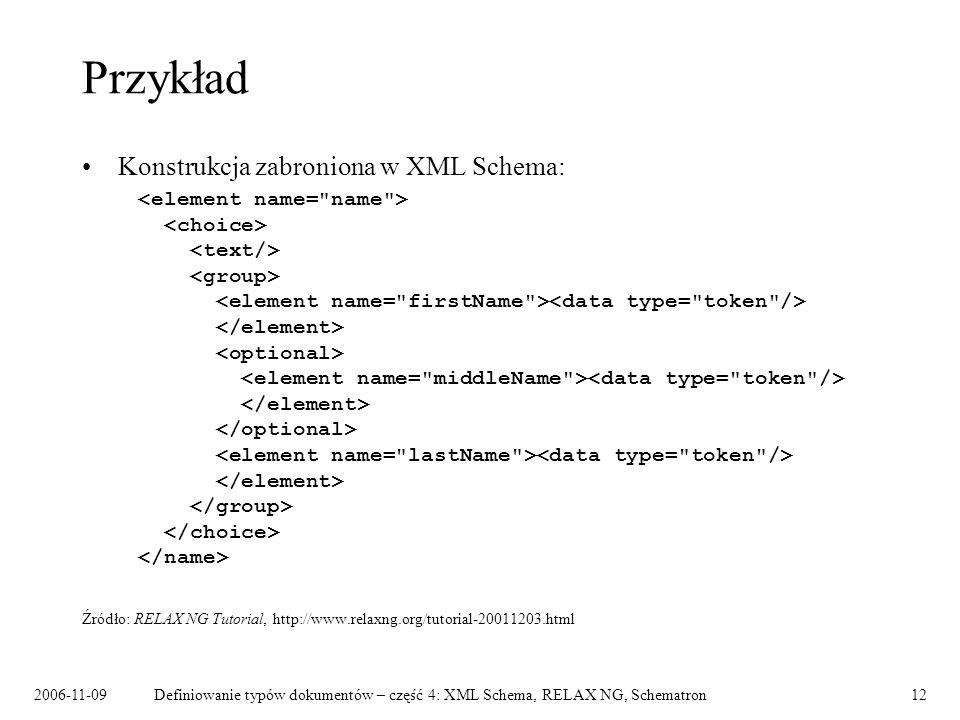 2006-11-09Definiowanie typów dokumentów – część 4: XML Schema, RELAX NG, Schematron12 Przykład Konstrukcja zabroniona w XML Schema: Źródło: RELAX NG T