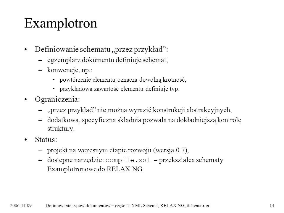 2006-11-09Definiowanie typów dokumentów – część 4: XML Schema, RELAX NG, Schematron14 Examplotron Definiowanie schematu przez przykład: –egzemplarz do