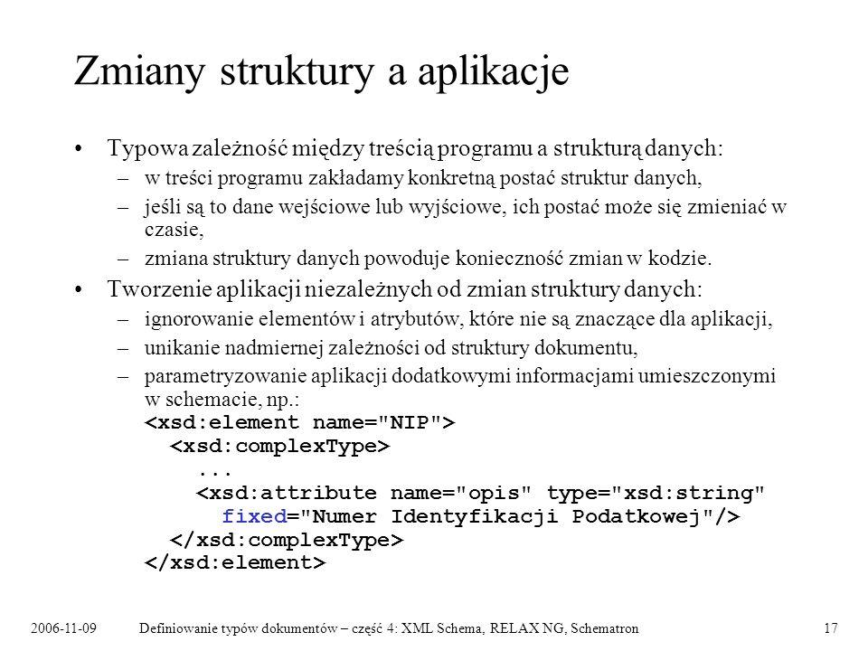 2006-11-09Definiowanie typów dokumentów – część 4: XML Schema, RELAX NG, Schematron17 Zmiany struktury a aplikacje Typowa zależność między treścią pro