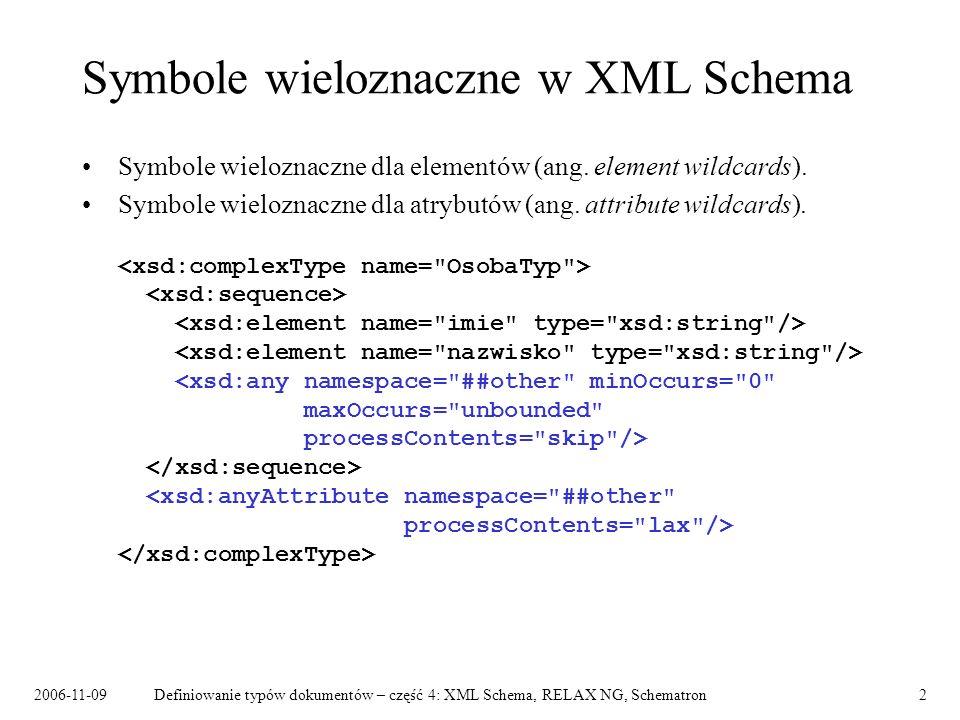 2006-11-09Definiowanie typów dokumentów – część 4: XML Schema, RELAX NG, Schematron2 Symbole wieloznaczne w XML Schema Symbole wieloznaczne dla elemen