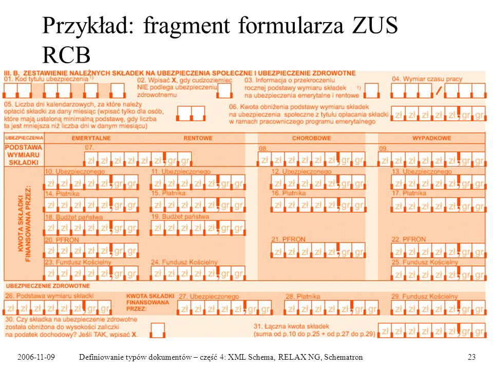2006-11-09Definiowanie typów dokumentów – część 4: XML Schema, RELAX NG, Schematron23 Przykład: fragment formularza ZUS RCB