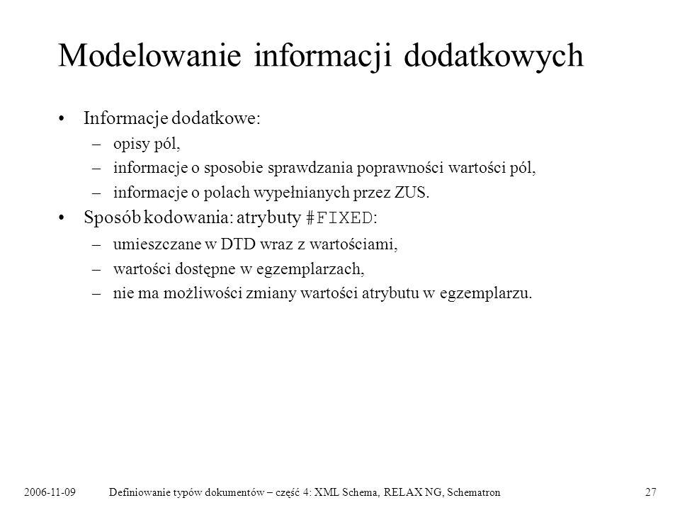 2006-11-09Definiowanie typów dokumentów – część 4: XML Schema, RELAX NG, Schematron27 Modelowanie informacji dodatkowych Informacje dodatkowe: –opisy
