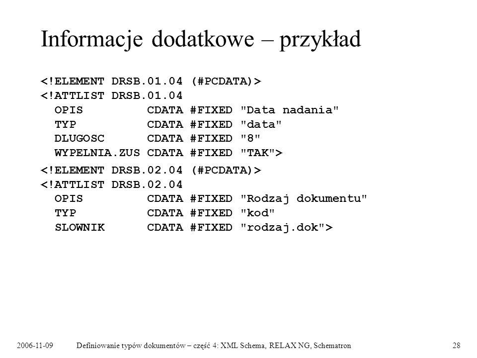 2006-11-09Definiowanie typów dokumentów – część 4: XML Schema, RELAX NG, Schematron28 Informacje dodatkowe – przykład
