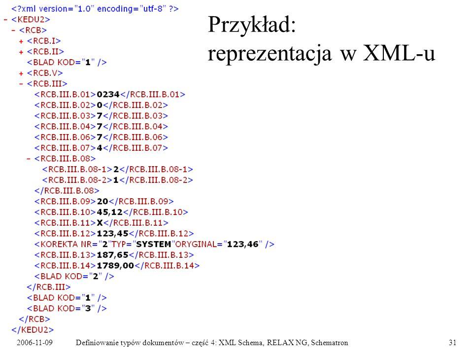 2006-11-09Definiowanie typów dokumentów – część 4: XML Schema, RELAX NG, Schematron31 Przykład: reprezentacja w XML-u