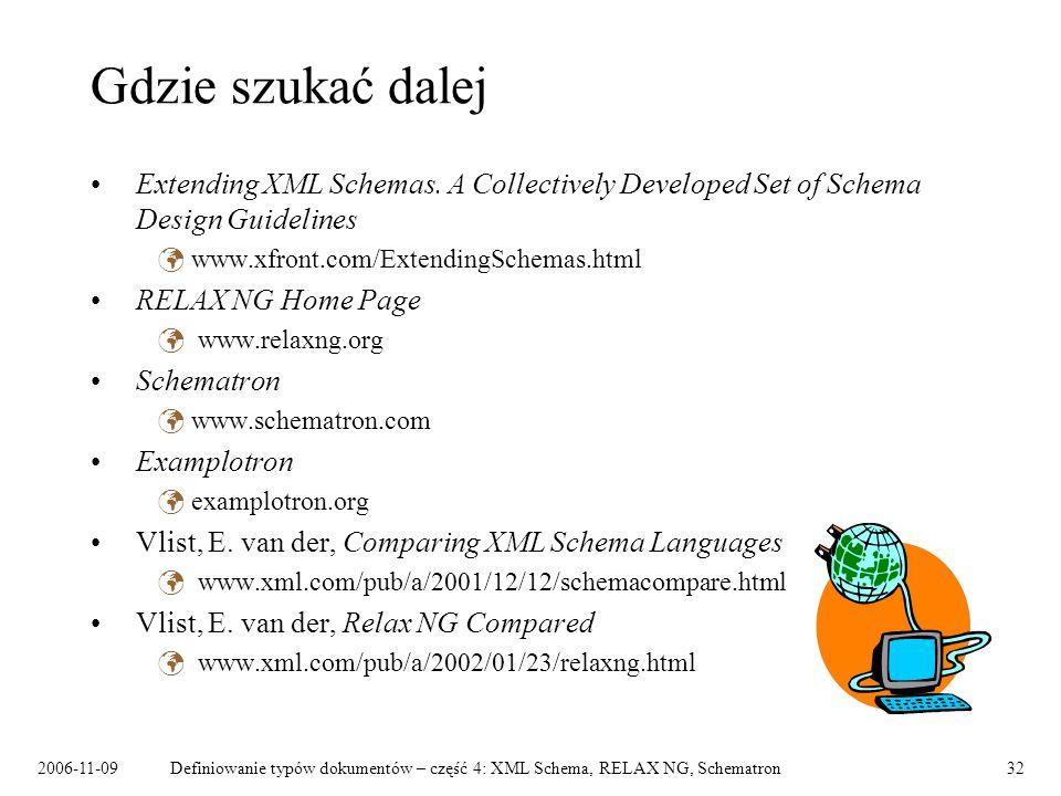 2006-11-09Definiowanie typów dokumentów – część 4: XML Schema, RELAX NG, Schematron32 Gdzie szukać dalej Extending XML Schemas. A Collectively Develop