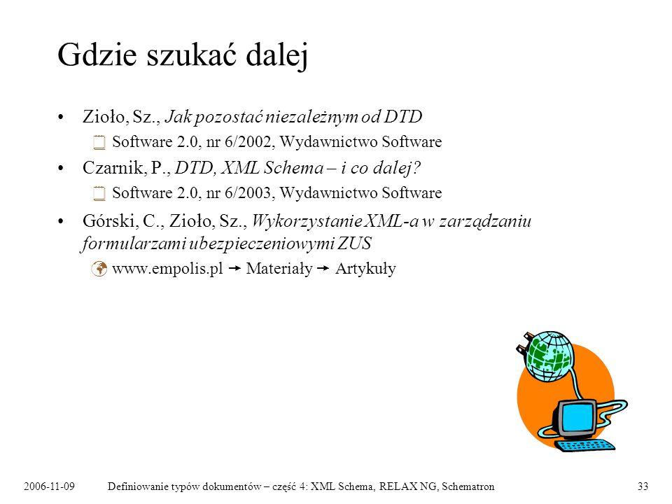 2006-11-09Definiowanie typów dokumentów – część 4: XML Schema, RELAX NG, Schematron33 Gdzie szukać dalej Zioło, Sz., Jak pozostać niezależnym od DTD S