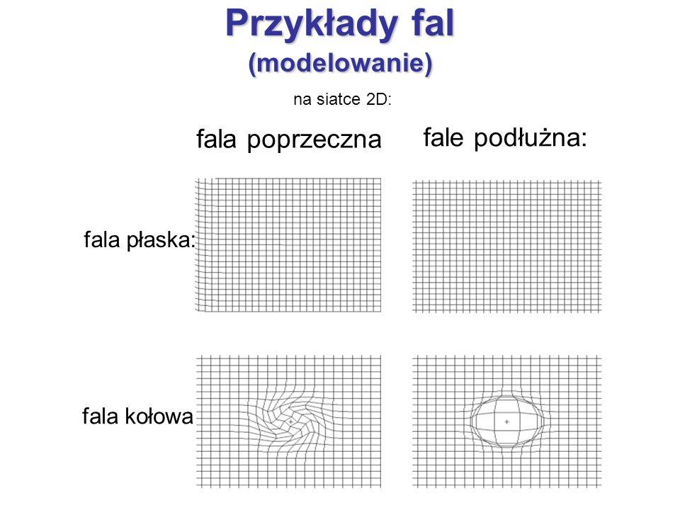 Przykłady fal (modelowanie) fale podłużna: fala poprzeczna fala płaska: fala kołowa na siatce 2D: