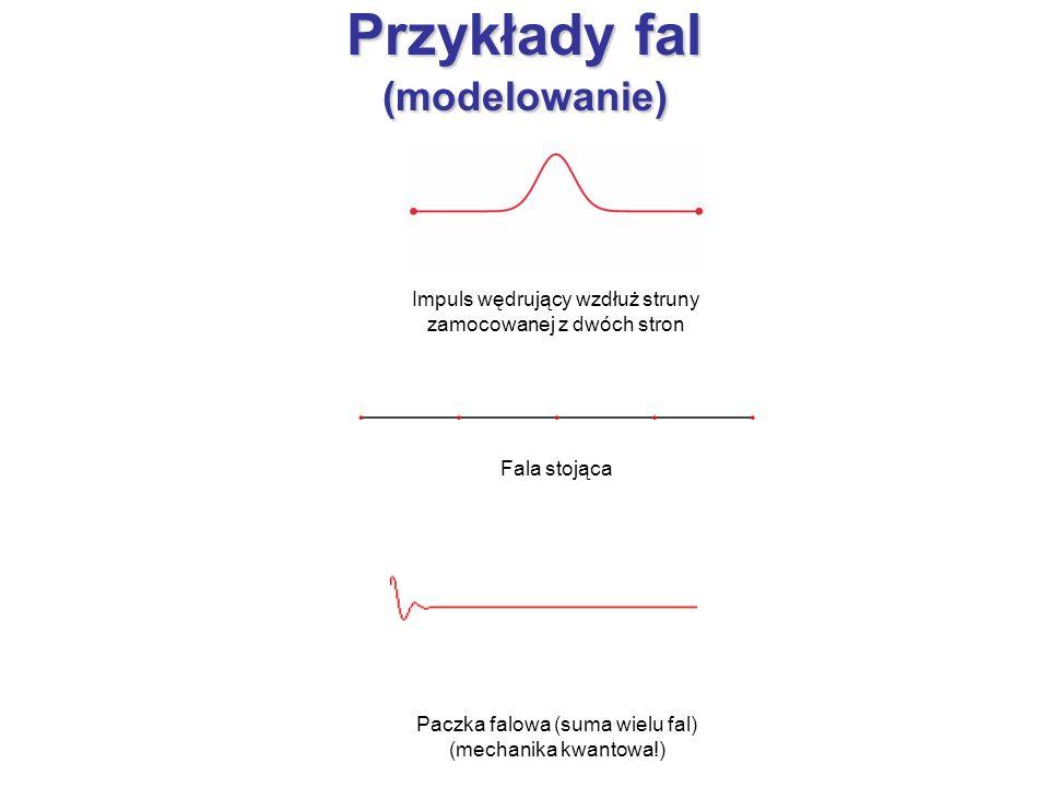 Przykłady fal (modelowanie) Paczka falowa (suma wielu fal) (mechanika kwantowa!) Impuls wędrujący wzdłuż struny zamocowanej z dwóch stron Fala stojąca