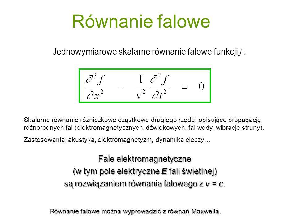 Równanie falowe Jednowymiarowe skalarne równanie falowe funkcji f : Fale elektromagnetyczne (w tym pole elektryczne E fali świetlnej) są rozwiązaniem równania falowego z v = c.