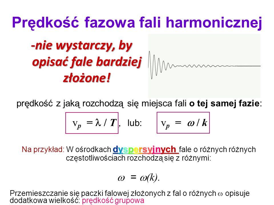 prędkość z jaką rozchodzą się miejsca fali o tej samej fazie: v p = / T lub: v p = / k dyspersyjnych Na przykład: W ośrodkach dyspersyjnych fale o różnych różnych częstotliwościach rozchodzą się z różnymi: = (k).