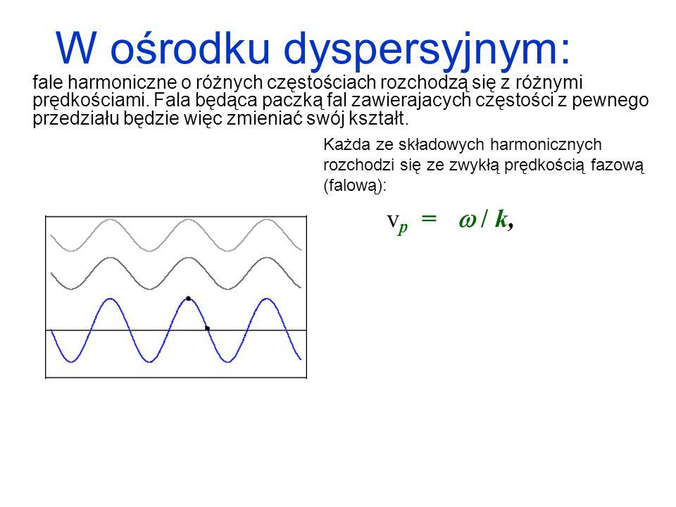 Każda ze składowych harmonicznych rozchodzi się ze zwykłą prędkością fazową (falową): v p = / k, natomiast paczka fal jako całość przesuwa się z prędkością v g v p.