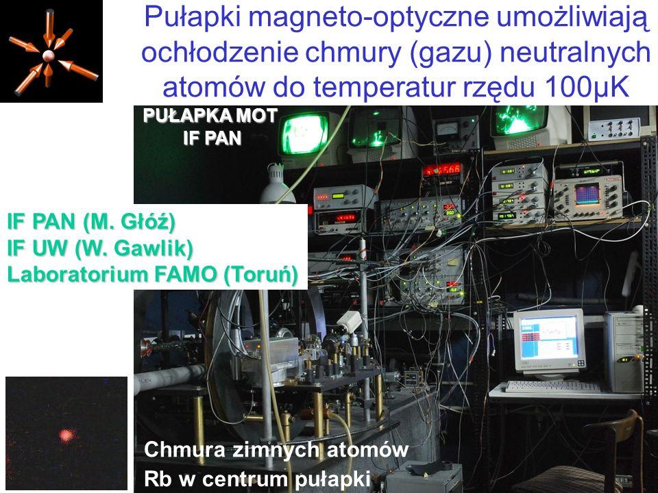 Pułapki magneto-optyczne umożliwiają ochłodzenie chmury (gazu) neutralnych atomów do temperatur rzędu 100µK Chmura zimnych atomów Rb w centrum pułapki PUŁAPKA MOT IF PAN IF PAN (M.