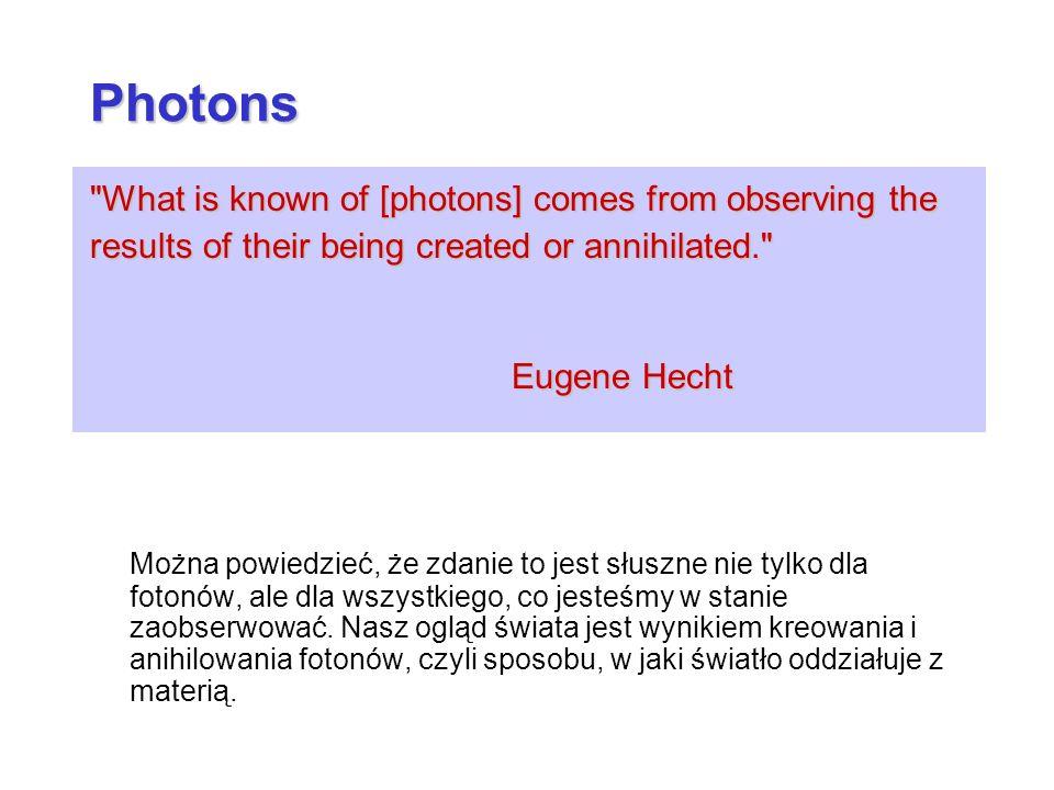What is known of [photons] comes from observing the results of their being created or annihilated. Eugene Hecht Można powiedzieć, że zdanie to jest słuszne nie tylko dla fotonów, ale dla wszystkiego, co jesteśmy w stanie zaobserwować.