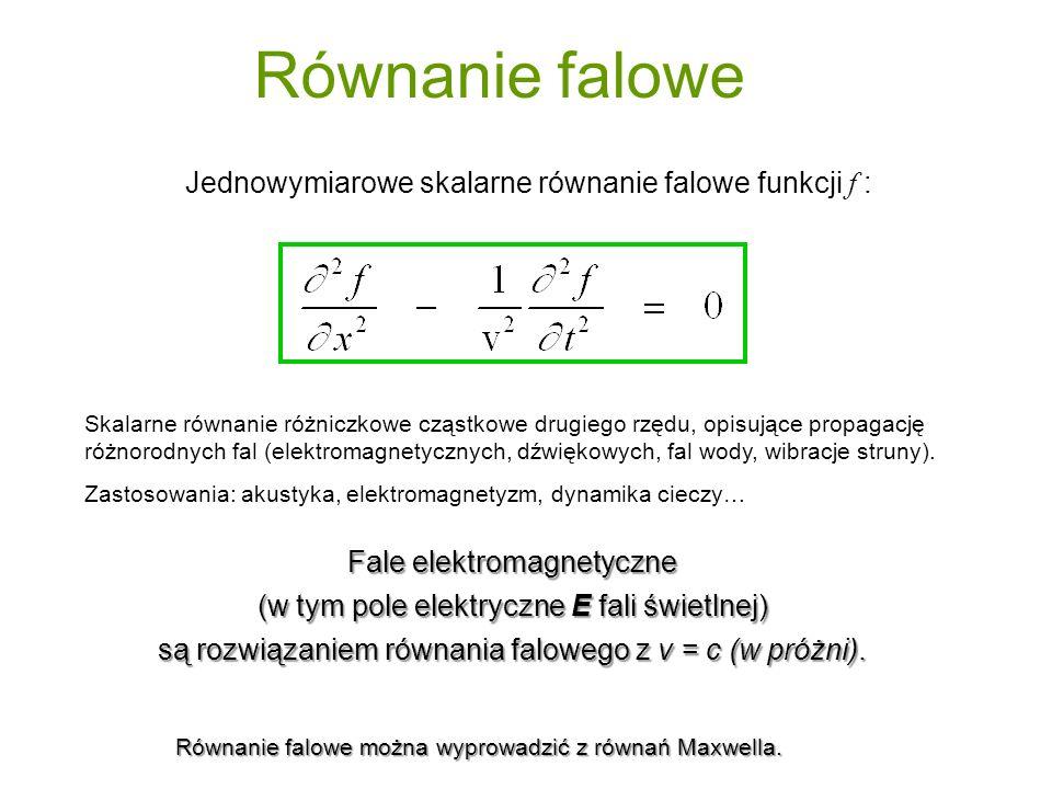 Równanie falowe Jednowymiarowe skalarne równanie falowe funkcji f : Fale elektromagnetyczne (w tym pole elektryczne E fali świetlnej) są rozwiązaniem