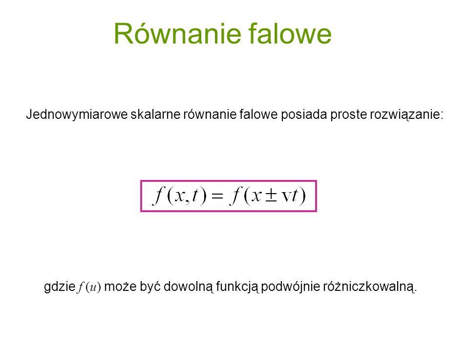 gdzie f (u) może być dowolną funkcją podwójnie różniczkowalną. Jednowymiarowe skalarne równanie falowe posiada proste rozwiązanie: Równanie falowe