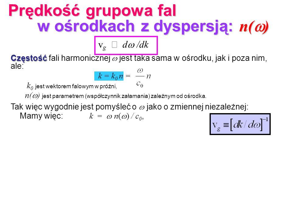 v g d /dk Częstość Częstość fali harmonicznej jest taka sama w ośrodku, jak i poza nim, ale: k = k 0 n = k 0 jest wektorem falowym w próżni, n( ) jest