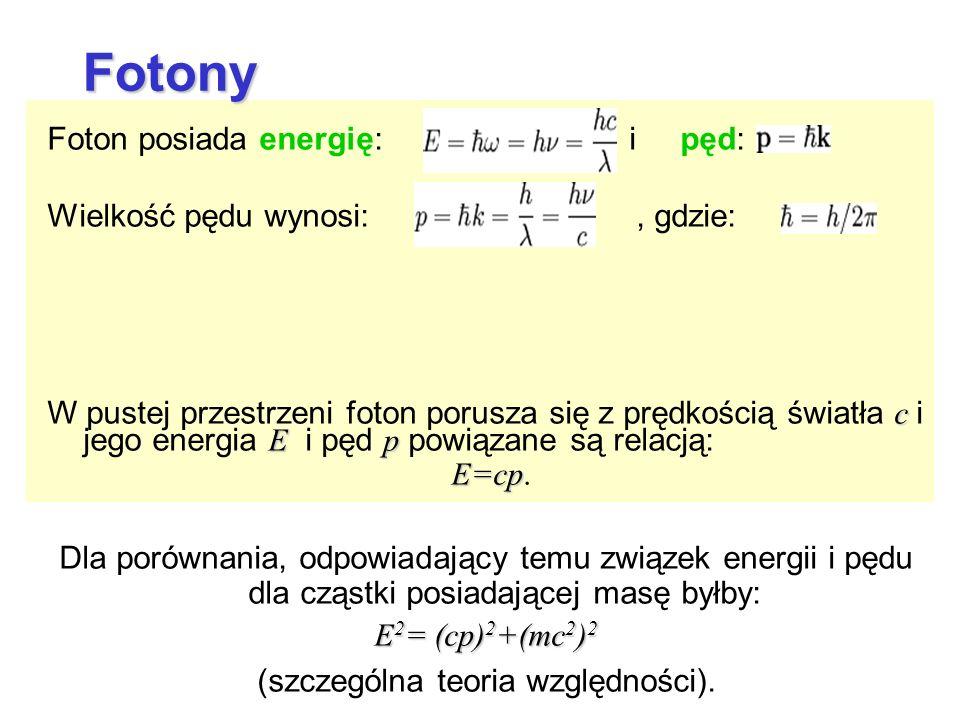 Foton posiada energię: i pęd: Wielkość pędu wynosi:, gdzie: c E p W pustej przestrzeni foton porusza się z prędkością światła c i jego energia E i pęd