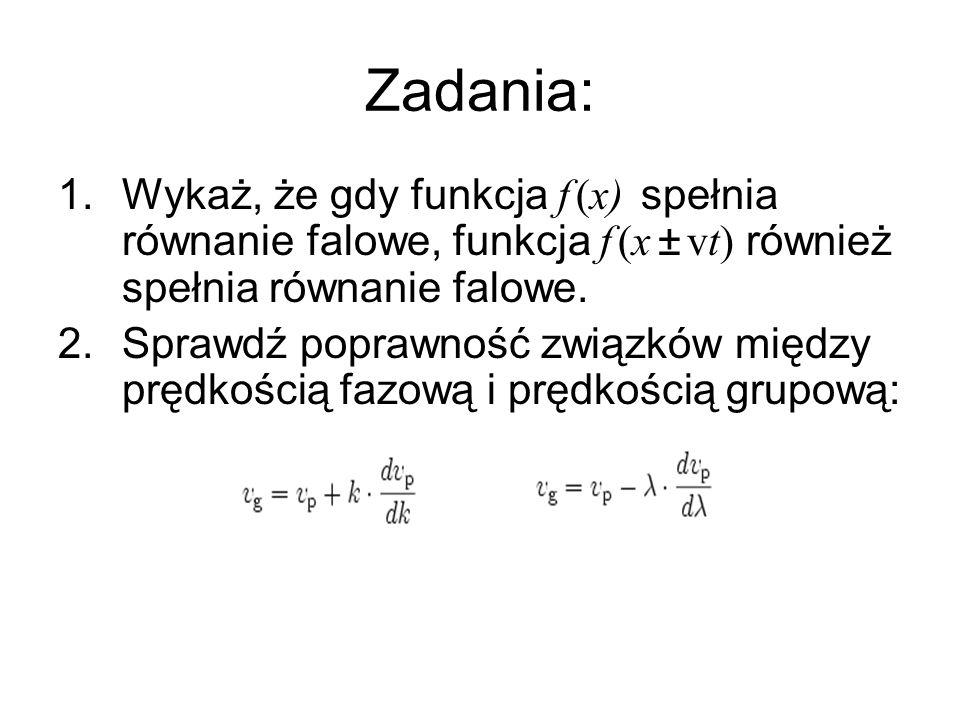 1.Wykaż, że gdy funkcja f (x) spełnia równanie falowe, funkcja f (x ± vt) również spełnia równanie falowe. 2.Sprawdź poprawność związków między prędko