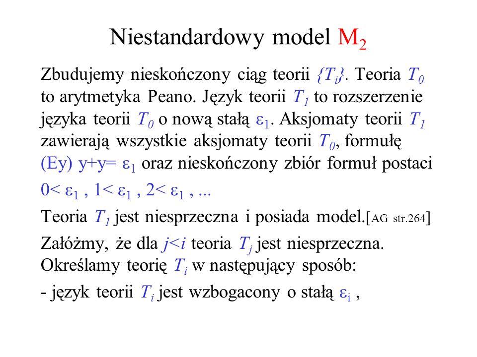 Niestandardowy model M 2 Zbudujemy nieskończony ciąg teorii {T i }. Teoria T 0 to arytmetyka Peano. Język teorii T 1 to rozszerzenie języka teorii T 0