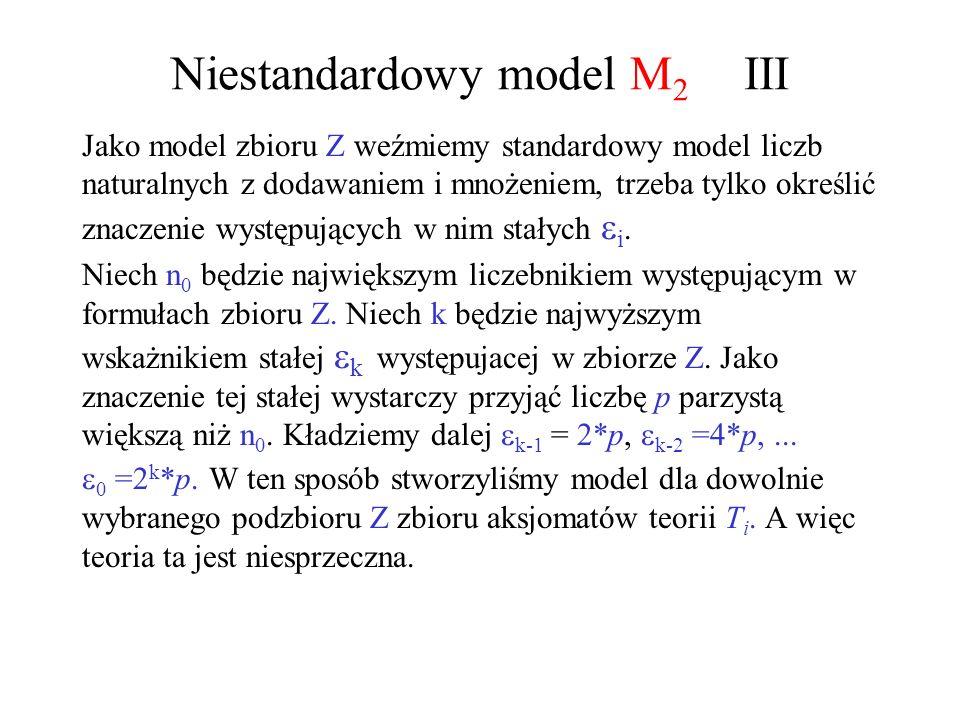 Niestandardowy model M 2 III Jako model zbioru Z weźmiemy standardowy model liczb naturalnych z dodawaniem i mnożeniem, trzeba tylko określić znaczeni