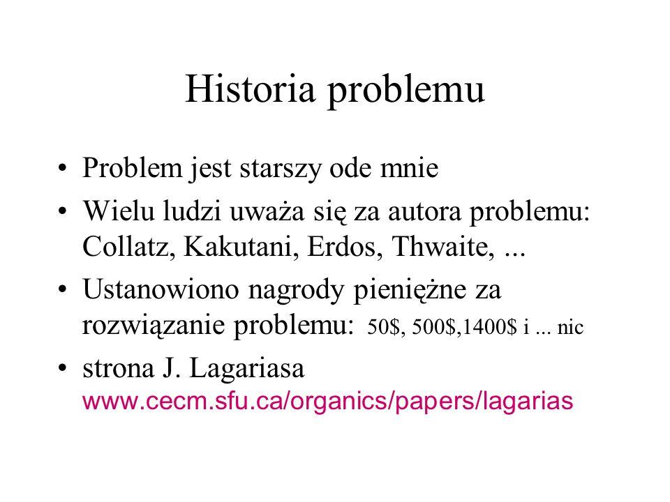 Historia problemu Problem jest starszy ode mnie Wielu ludzi uważa się za autora problemu: Collatz, Kakutani, Erdos, Thwaite,... Ustanowiono nagrody pi