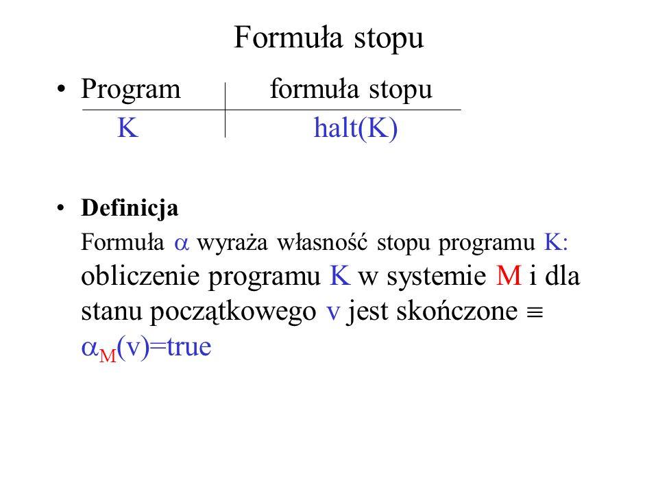 Formuła stopu Program formuła stopu K halt(K) Definicja Formuła wyraża własność stopu programu K: obliczenie programu K w systemie M i dla stanu począ