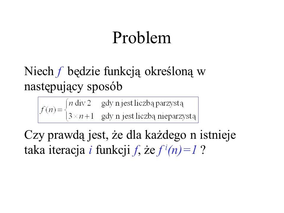 Problem ( ujęcie współczesne ) Czy prawdą jest, że następujący program P zatrzymuje się P: while n 1 do if even(n) then n:= n div 2 else n:=3*n+1 fi done dla każdej liczby naturalnej n>0?