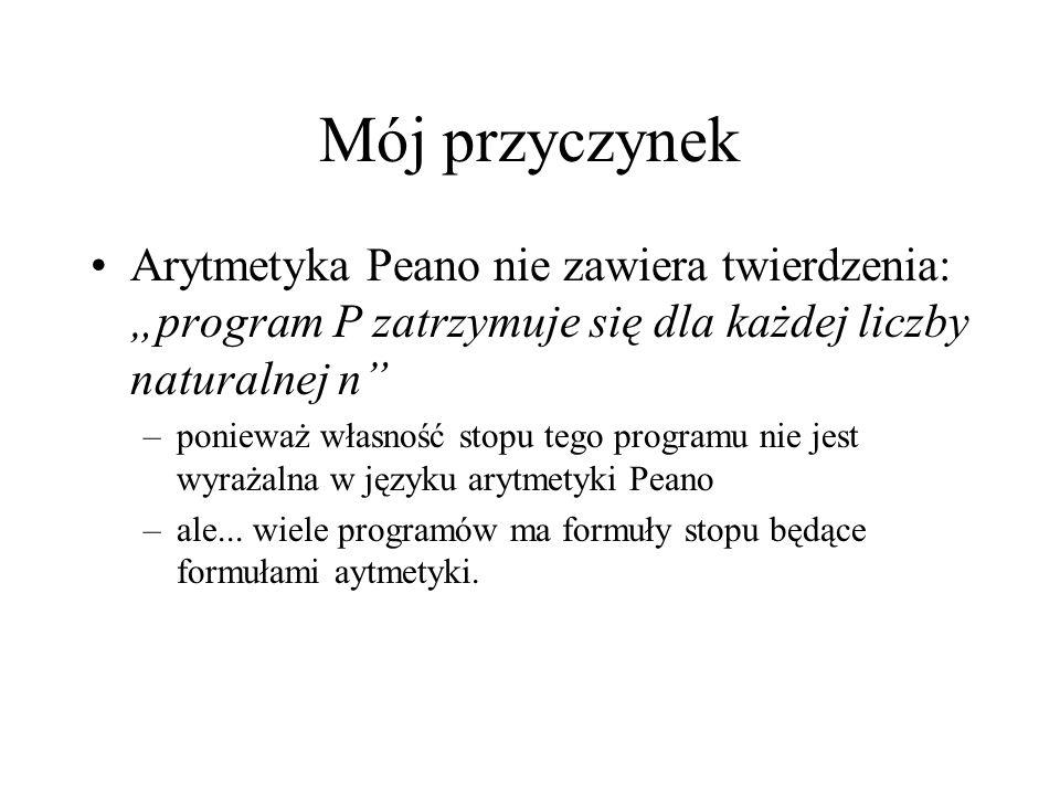 Mój przyczynek Arytmetyka Peano nie zawiera twierdzenia: program P zatrzymuje się dla każdej liczby naturalnej n –ponieważ własność stopu tego program