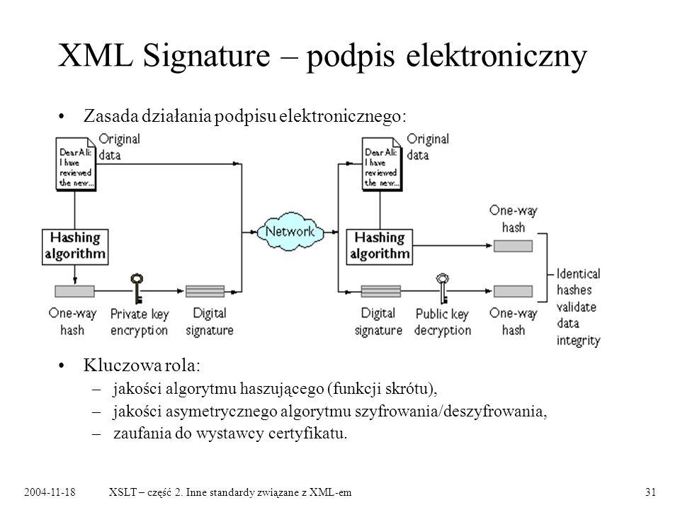 2004-11-18XSLT – część 2. Inne standardy związane z XML-em31 XML Signature – podpis elektroniczny Zasada działania podpisu elektronicznego: Kluczowa r