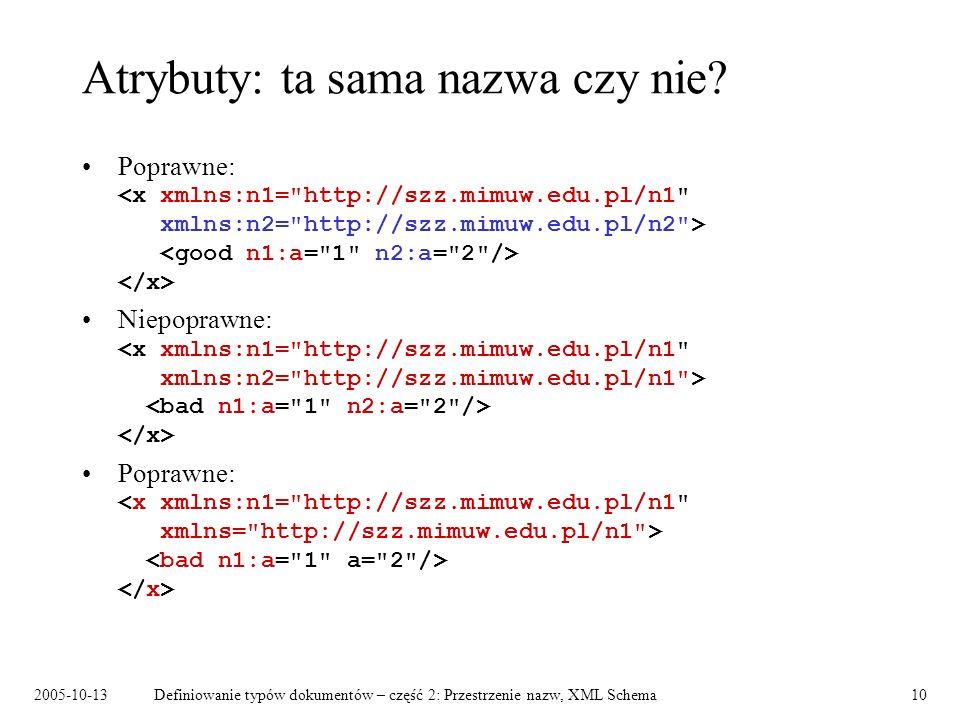 2005-10-13Definiowanie typów dokumentów – część 2: Przestrzenie nazw, XML Schema10 Atrybuty: ta sama nazwa czy nie? Poprawne: Niepoprawne: Poprawne: