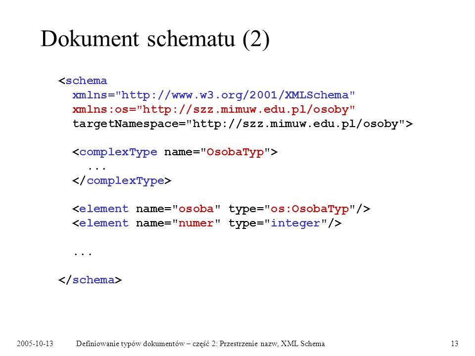 2005-10-13Definiowanie typów dokumentów – część 2: Przestrzenie nazw, XML Schema13 Dokument schematu (2)......