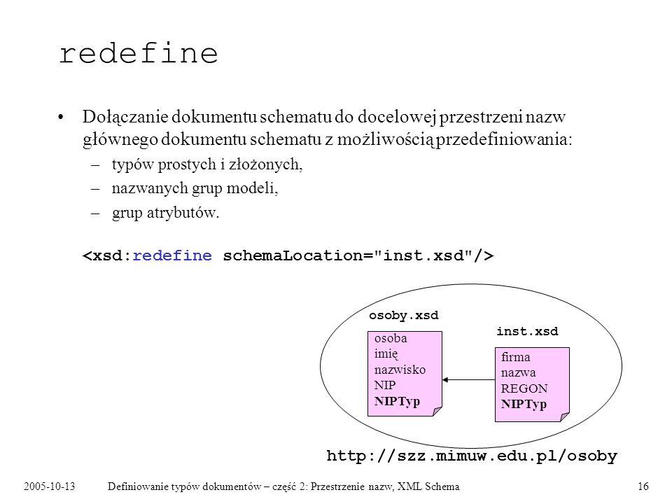 2005-10-13Definiowanie typów dokumentów – część 2: Przestrzenie nazw, XML Schema16 redefine Dołączanie dokumentu schematu do docelowej przestrzeni naz