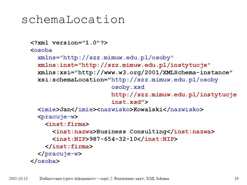 2005-10-13Definiowanie typów dokumentów – część 2: Przestrzenie nazw, XML Schema19 schemaLocation Jan Kowalski Business Consulting 987-654-32-10