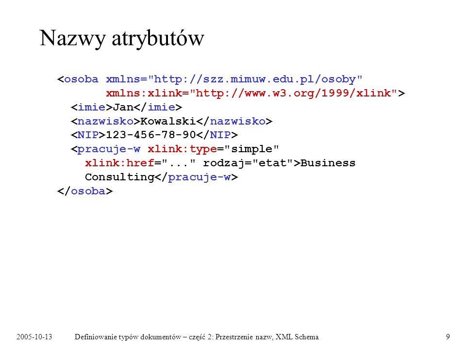 2005-10-13Definiowanie typów dokumentów – część 2: Przestrzenie nazw, XML Schema10 Atrybuty: ta sama nazwa czy nie.