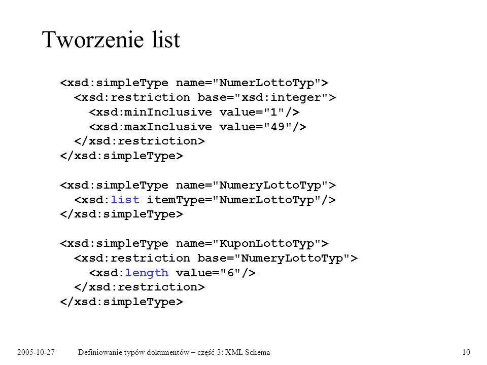 2005-10-27Definiowanie typów dokumentów – część 3: XML Schema10 Tworzenie list