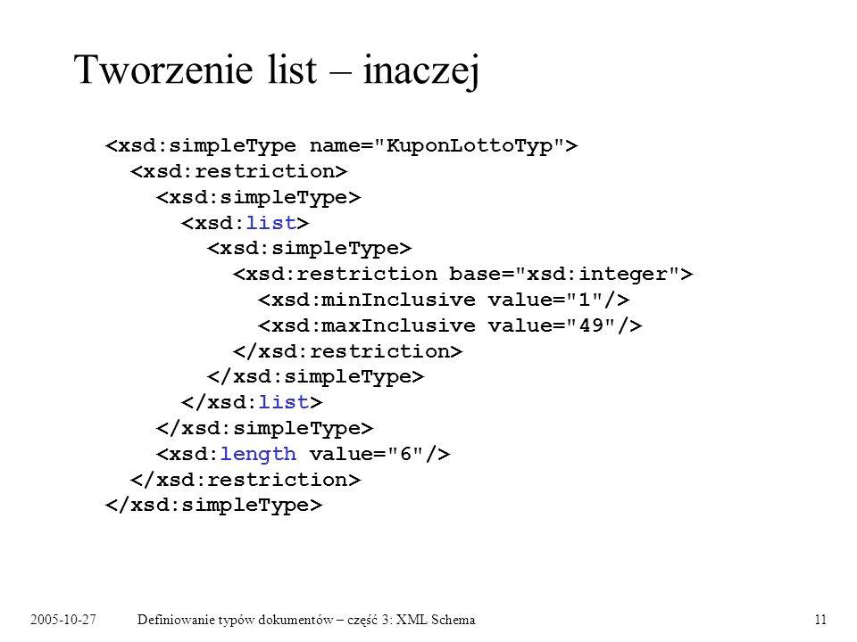 2005-10-27Definiowanie typów dokumentów – część 3: XML Schema11 Tworzenie list – inaczej