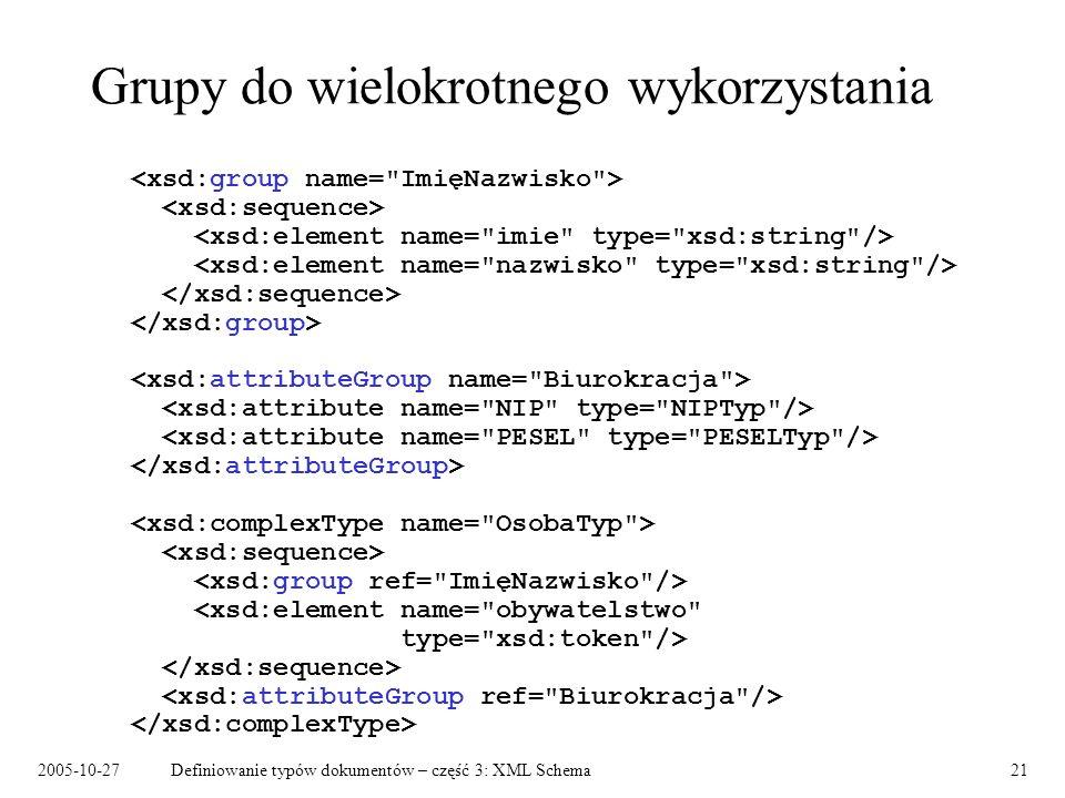 2005-10-27Definiowanie typów dokumentów – część 3: XML Schema21 Grupy do wielokrotnego wykorzystania