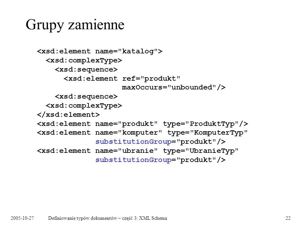 2005-10-27Definiowanie typów dokumentów – część 3: XML Schema22 Grupy zamienne