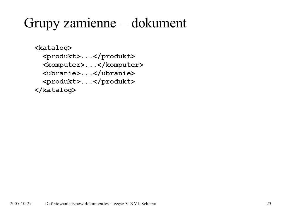 2005-10-27Definiowanie typów dokumentów – część 3: XML Schema23 Grupy zamienne – dokument............