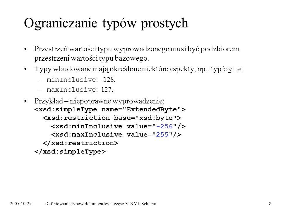2005-10-27Definiowanie typów dokumentów – część 3: XML Schema8 Ograniczanie typów prostych Przestrzeń wartości typu wyprowadzonego musi być podzbiorem przestrzeni wartości typu bazowego.