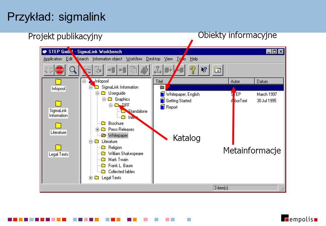 Przykład: sigmalink Katalog Projekt publikacyjny Obiekty informacyjne Metainformacje